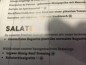Glutenfrei in Bremerhaven: B-Burger-Karte (Salate)
