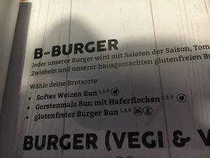 Glutenfrei in Bremerhaven: B-Burger-Karte